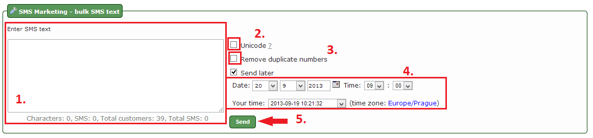 SMS Text entry / Setting sending time/date